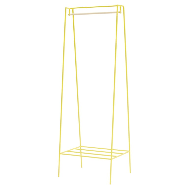 'A' Clothes Rail in Yellow with a Pine Pole For Sale