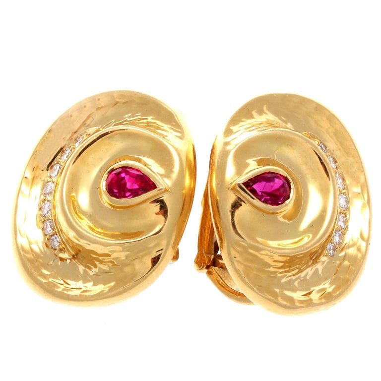 A. Clunn Diamond Ruby Gold Earrings