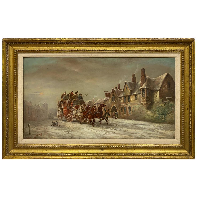 'A Coach in the Snow Outside an Inn' by John Charles Maggs, English, 1889
