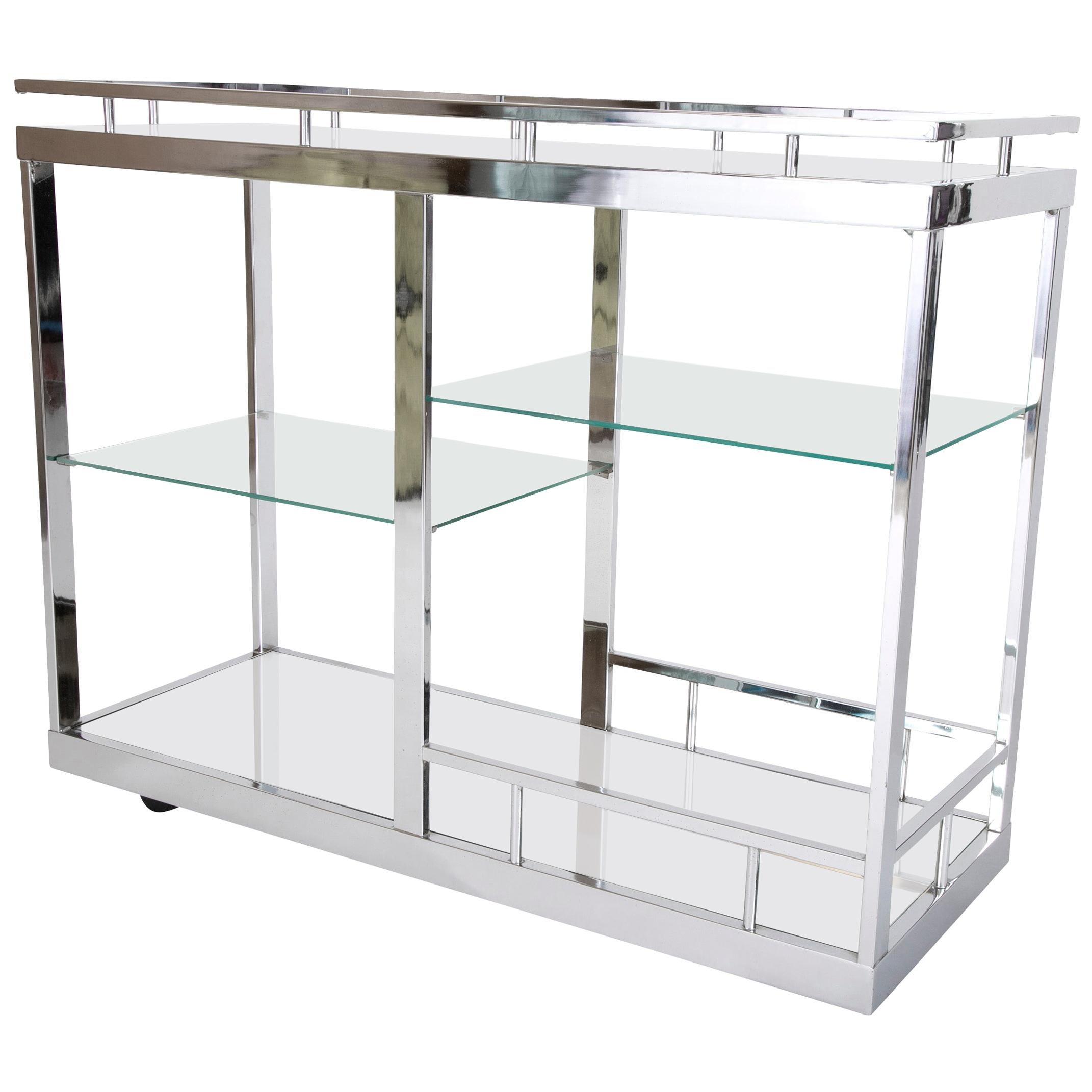 Cocktail or Bar Cart of Chrome and Glass from the Design Institute of America