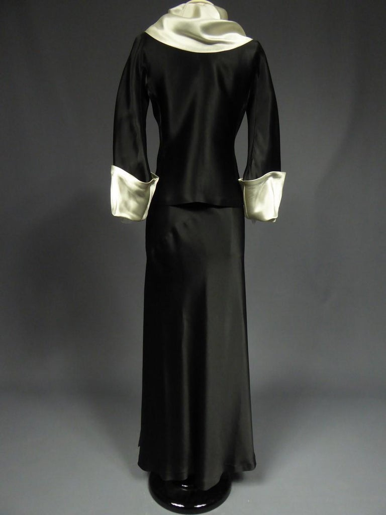 Black A Coco Chanel (attributed to) Tuxedo Satin Skirt Couture Suit - Paris Circa 1933 For Sale