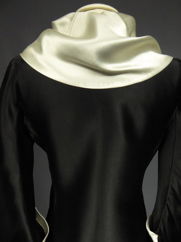 Women's A Coco Chanel (attributed to) Tuxedo Satin Skirt Couture Suit - Paris Circa 1933 For Sale