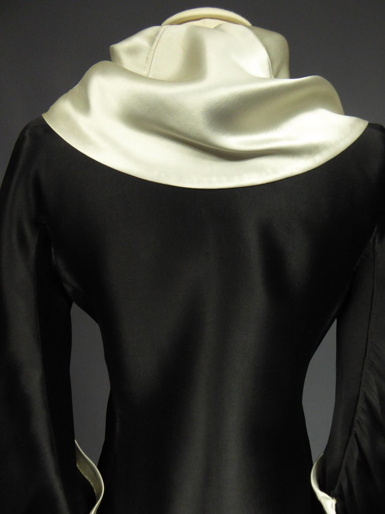 A Coco Chanel (attributed to) Tuxedo Satin Skirt Couture Suit - Paris Circa 1933 For Sale 1