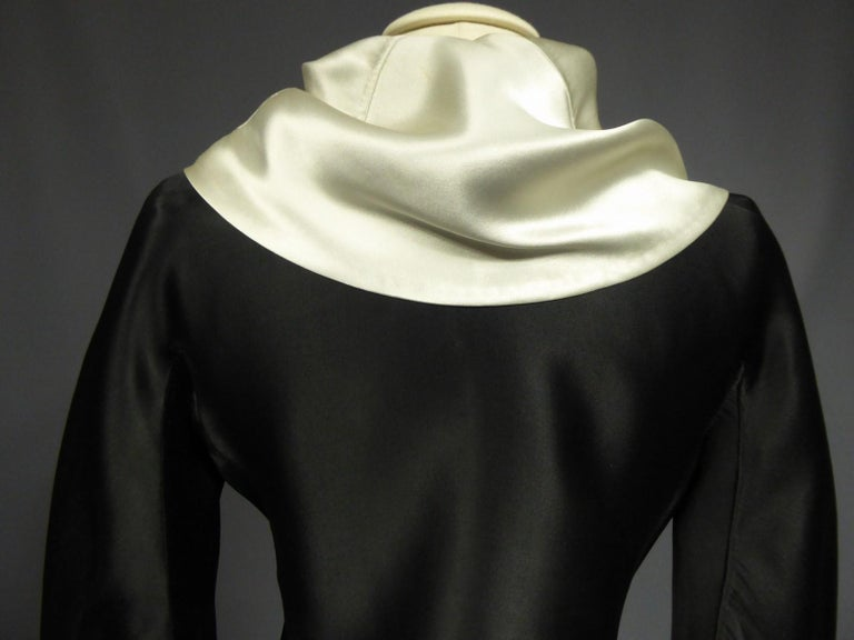 A Coco Chanel (attributed to) Tuxedo Satin Skirt Couture Suit - Paris Circa 1933 For Sale 2