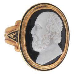 A. Codognato Large Onyx Cameo Plato Ring