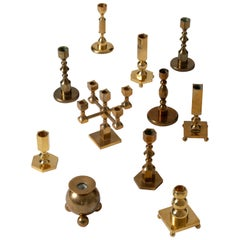 Collection of 11 Midcentury Brass Candlesticks
