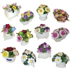 Collection of 12 Fine Handmade Porcelain Bouquets, Months of the Year