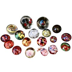 Collection of 18 Vintage Art Glass Millefiori Weights
