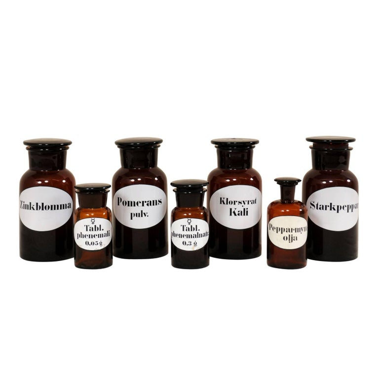 Collection of Seven Antique Swedish Apothecary Jars from the Early 20th Century