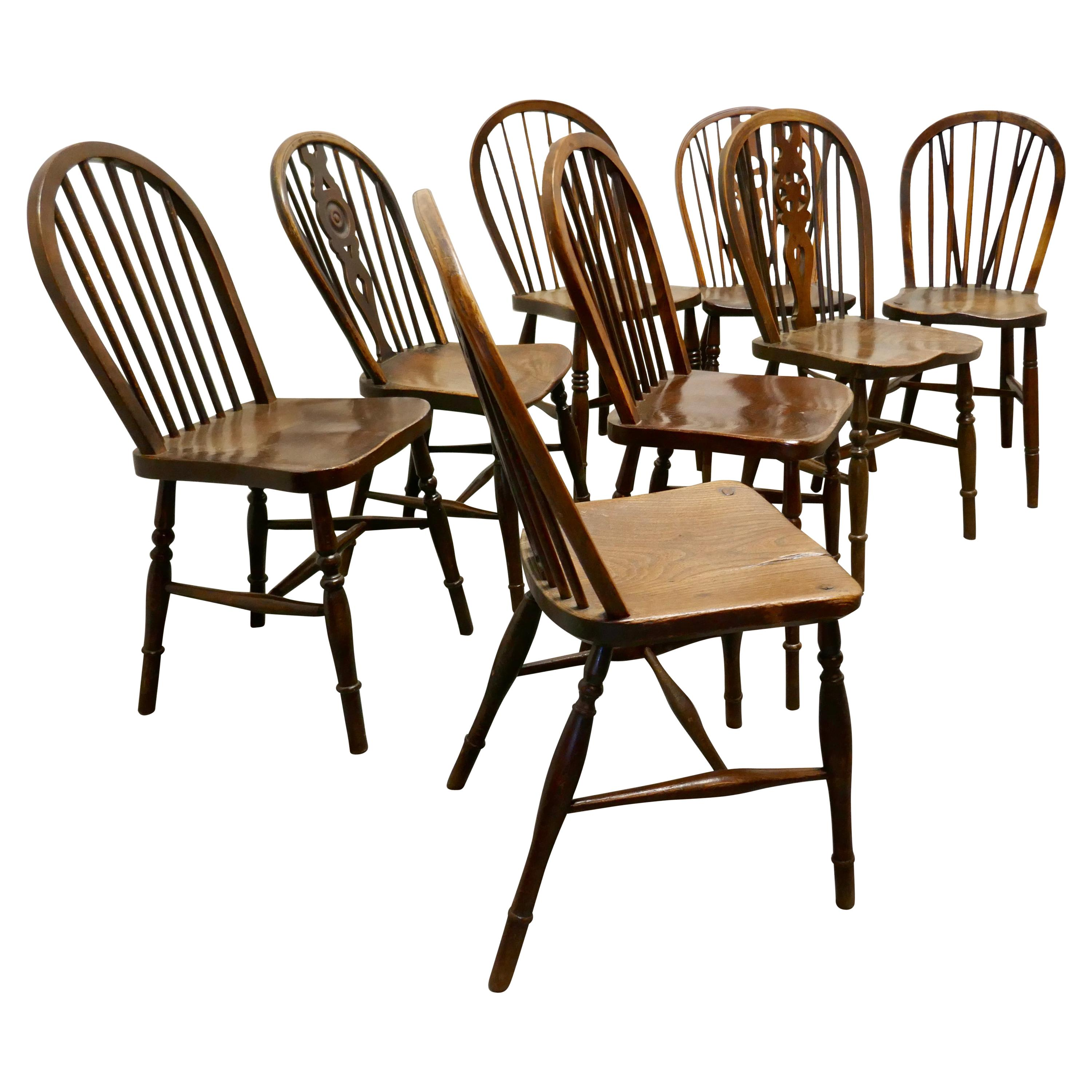 A Collection of 8 Beech and Elm Country Windsor Chairs
