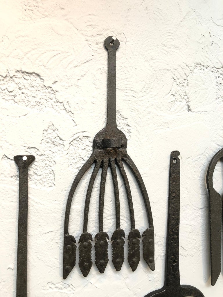 Collection of Antique Wrought Iron Eel Forks For Sale 4