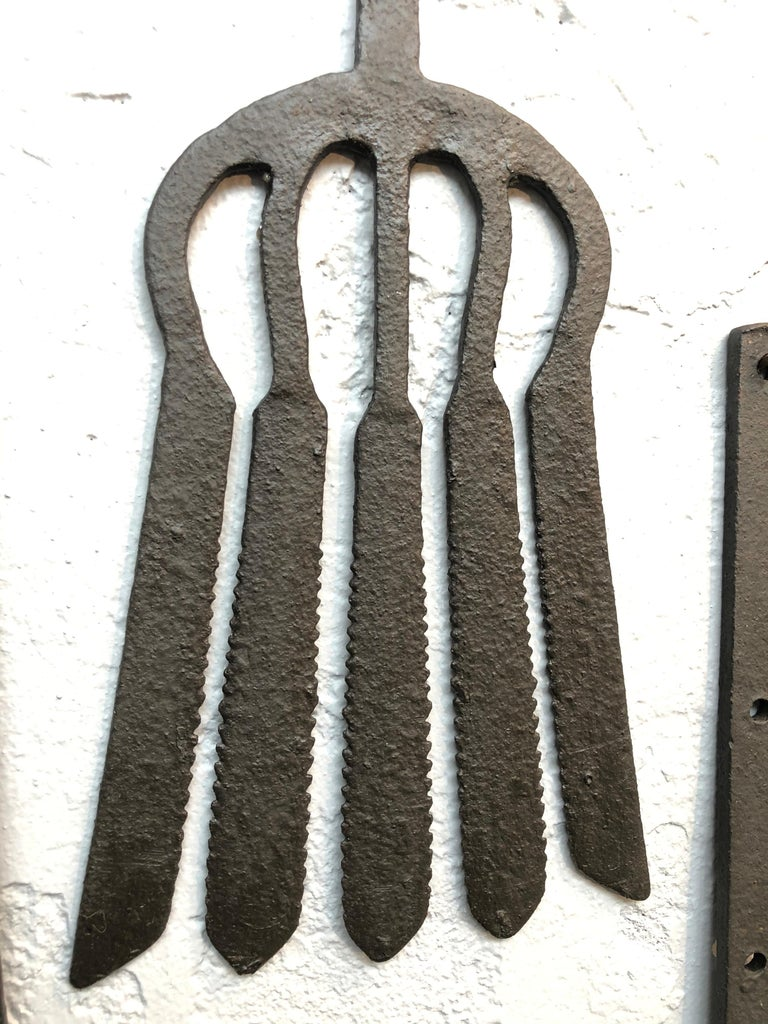Collection of Antique Wrought Iron Eel Forks For Sale 7