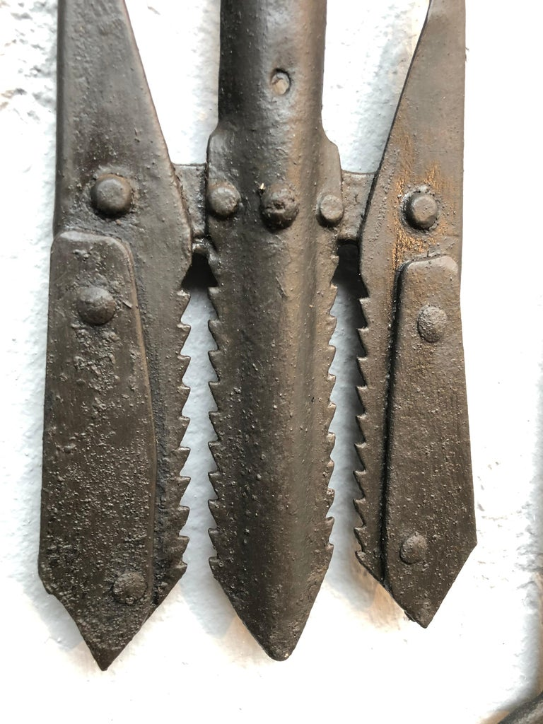 Collection of Antique Wrought Iron Eel Forks For Sale 8