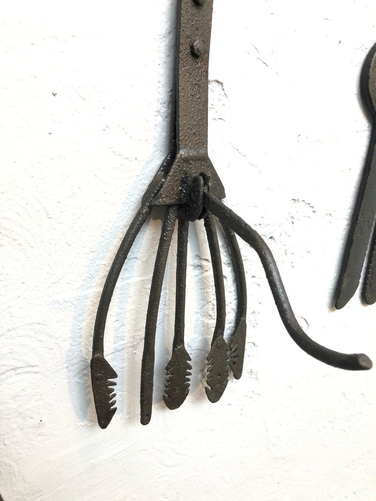 Collection of Antique Wrought Iron Eel Forks For Sale 10