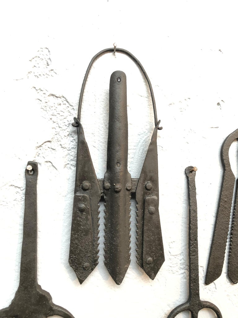 Hand-Crafted Collection of Antique Wrought Iron Eel Forks For Sale