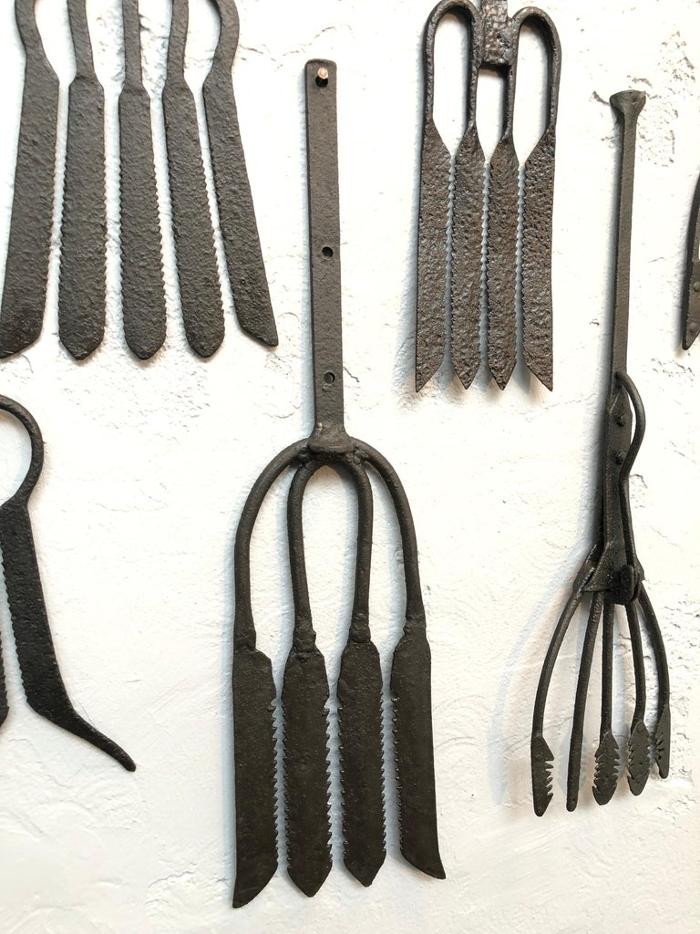Collection of Antique Wrought Iron Eel Forks For Sale 1