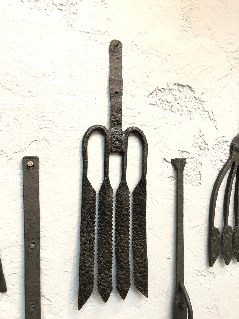 Collection of Antique Wrought Iron Eel Forks For Sale 2