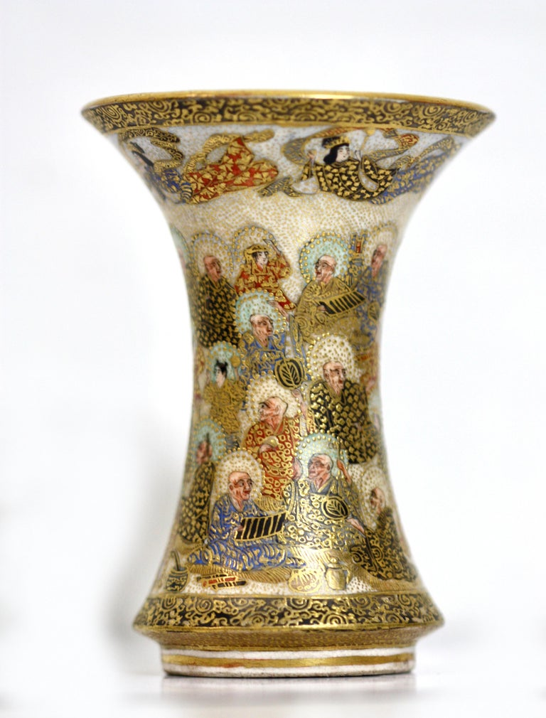 Collection of Five Signed Antique Satsuma Miniatures In Good Condition For Sale In Palm Beach, FL