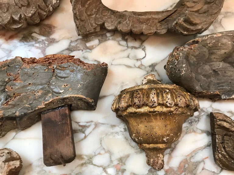 Collection of Nine Early 18th Century Italian Wood Fragments of Wings and Urns For Sale 1