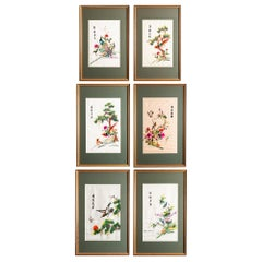 Collection of Six Framed Silk Embroidered Chinese Panels, China, circa 1950