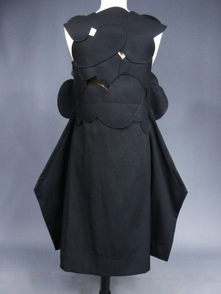 A Comme des Garcons Junya Watanabe Black Woollen Chasuble Dress Circa 2000 For Sale 6