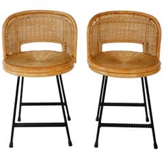 Compact Pair of Wrought Iron and Rattan Chairs