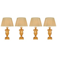 Complete Set of Four Italian 18th Louis XVI Period Giltwood Lamps