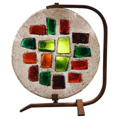 Concrete and Stained Glass Lamp by Artist Jean Jacques-Duval, circa 1950