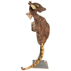 Contemporary Old Wood and Antique Gilded Fragments Sculpture of a Sea Horse