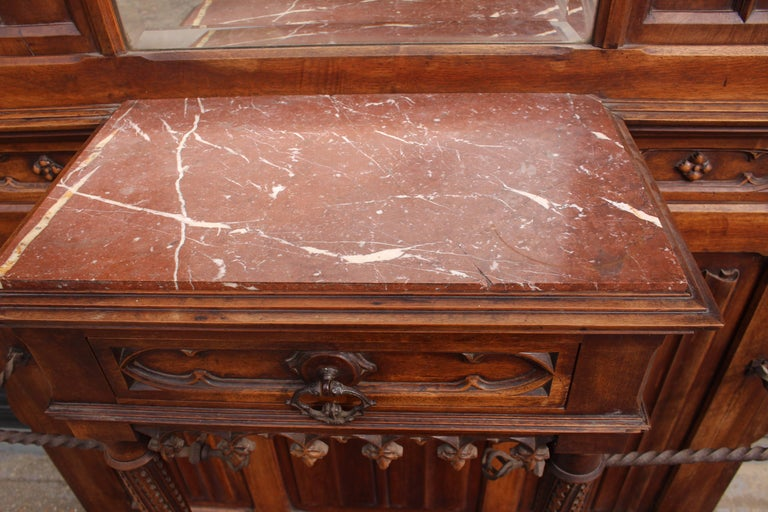 Continental Gothic Revival Carved Walnut Hall Stand, circa 1890 For Sale 3