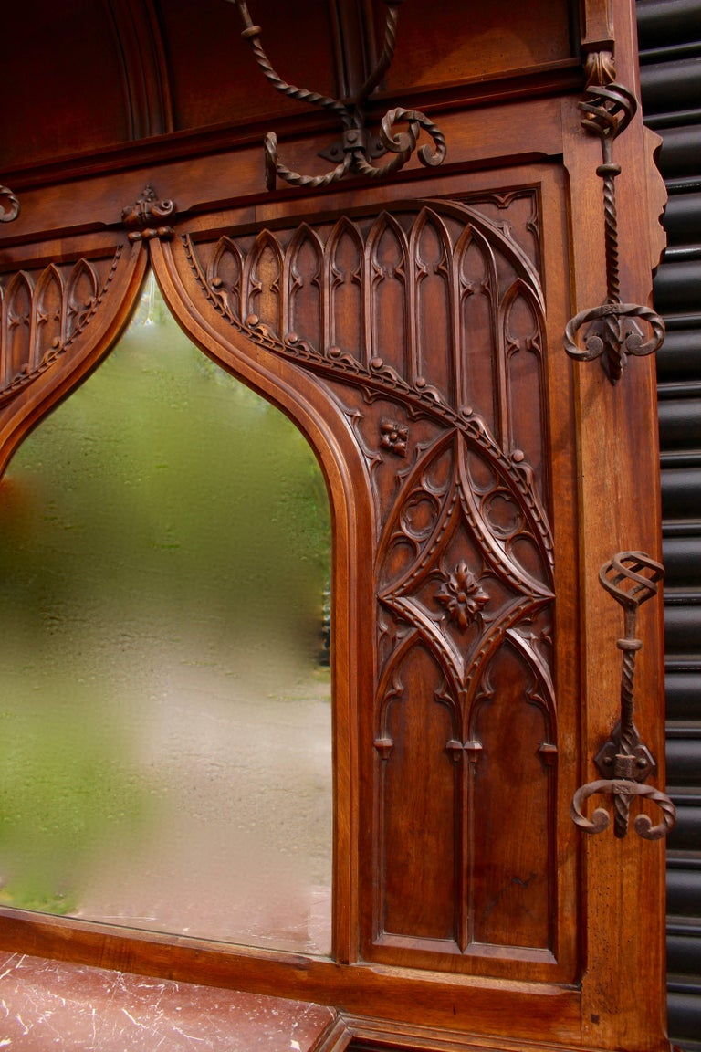 French Continental Gothic Revival Carved Walnut Hall Stand, circa 1890 For Sale