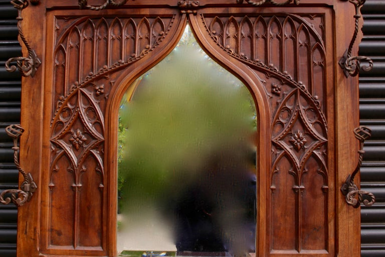 Beveled Continental Gothic Revival Carved Walnut Hall Stand, circa 1890 For Sale