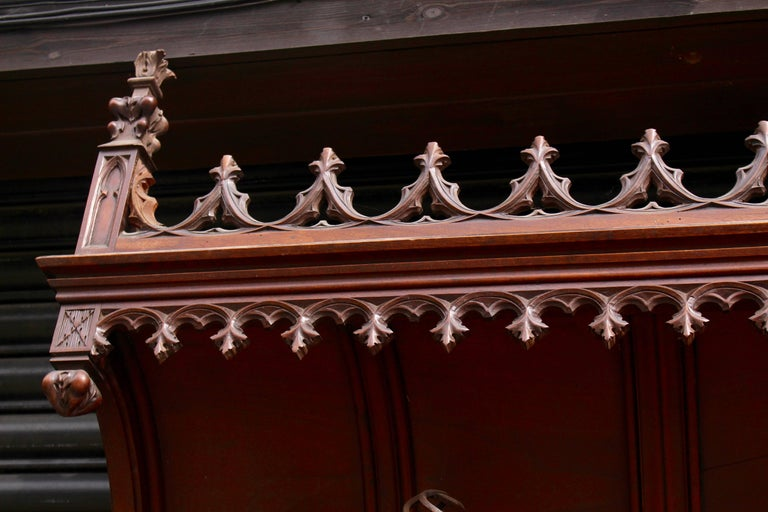 Iron Continental Gothic Revival Carved Walnut Hall Stand, circa 1890 For Sale