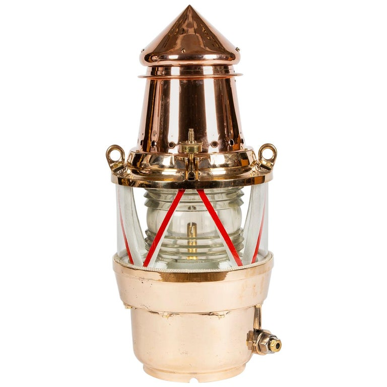 Copper and Brass Marine Buoy Light For Sale