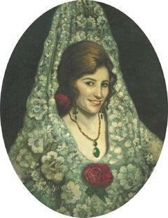 A. Costa - 1912 Oil, Portrait of a Spanish Lady