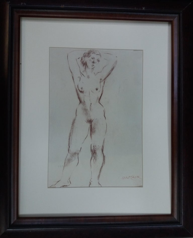 woman. original figurative academician drawing painting - Painting by A. Costa