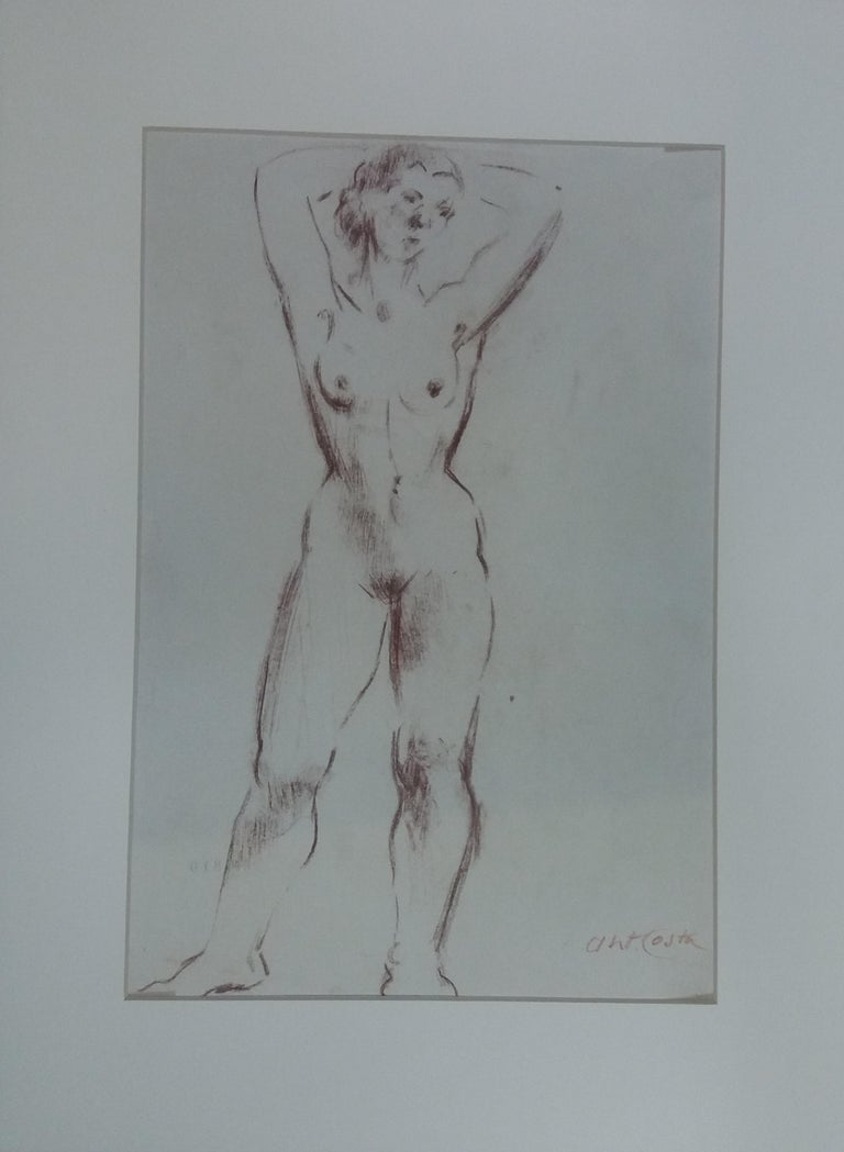 woman. original figurative academician drawing painting - Academic Painting by A. Costa