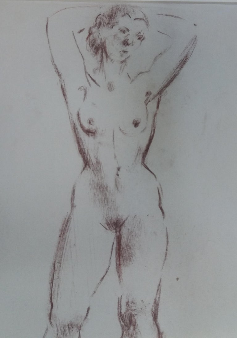 woman. original figurative academician drawing painting - Gray Figurative Painting by A. Costa