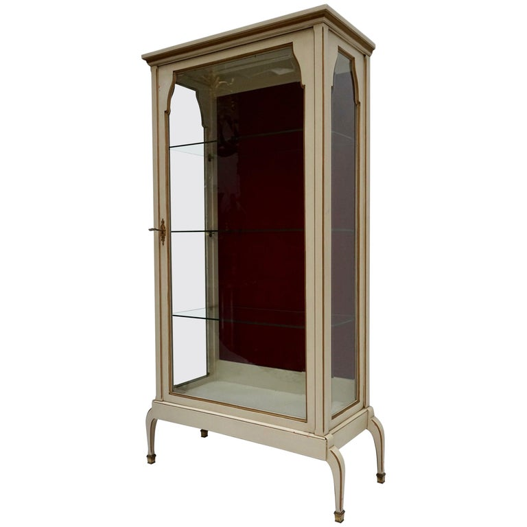 Cream and Gold Painted Wood and Glass Showcase Vitrine For Sale
