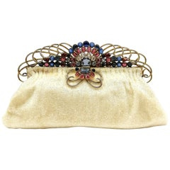 A cream beaded evening bag, with a fabulous jewelled frame, Josef, USA, 1940s.