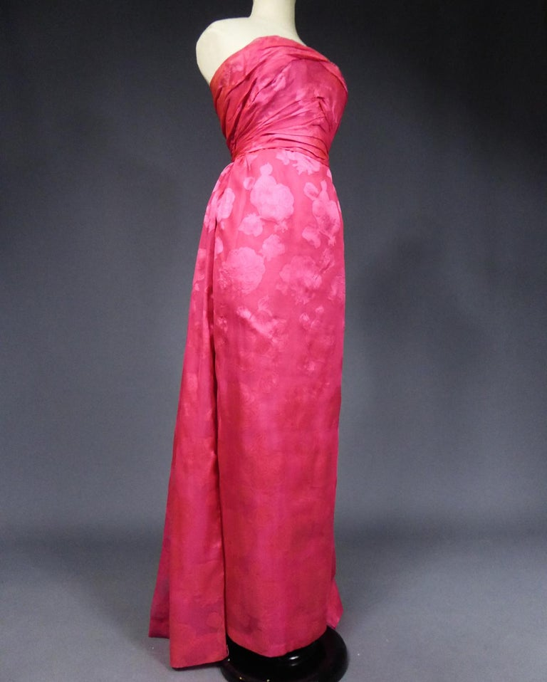 A Cristobal Balenciaga Damask Chiffon Couture Evening Dress Circa 1960 For Sale 6