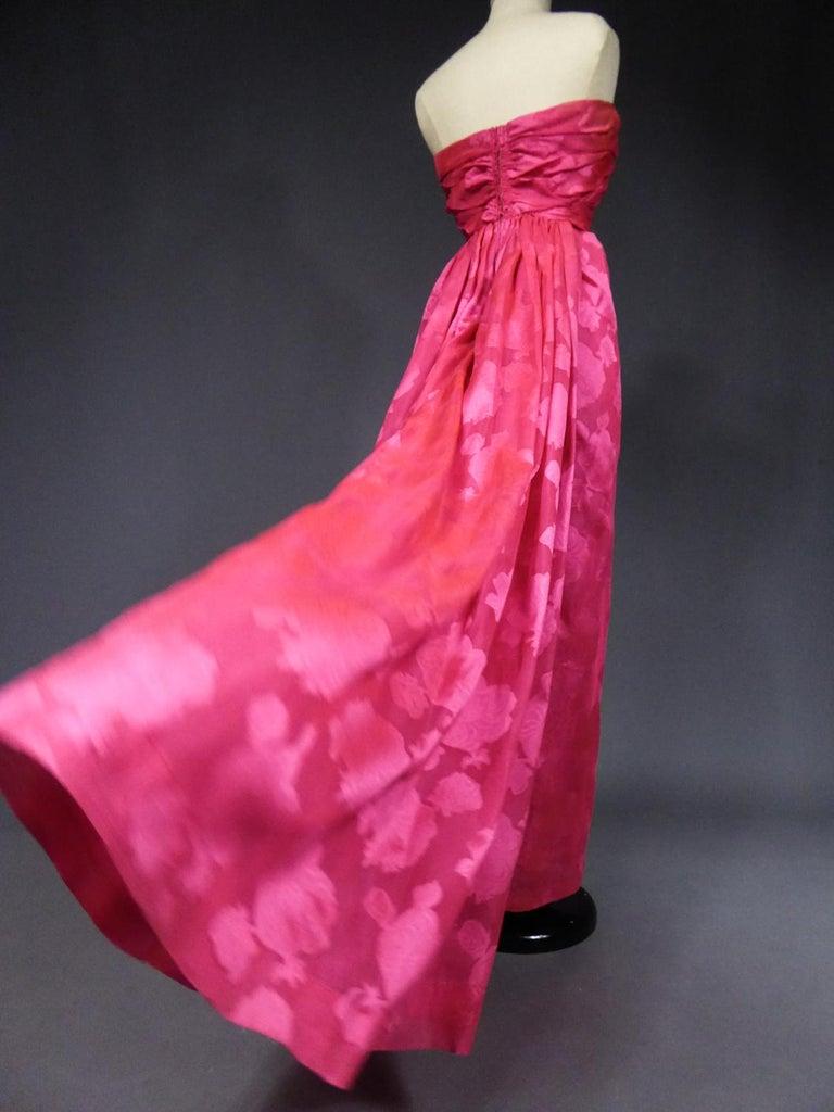A Cristobal Balenciaga Damask Chiffon Couture Evening Dress Circa 1960 For Sale 7