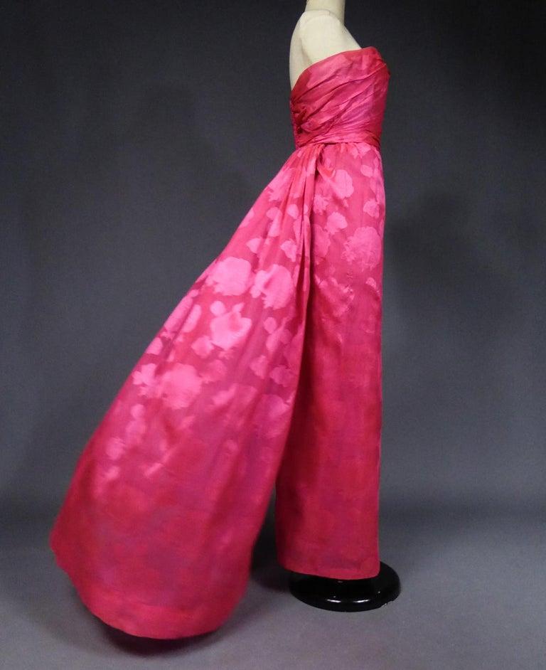A Cristobal Balenciaga Damask Chiffon Couture Evening Dress Circa 1960 For Sale 8