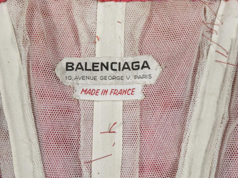 A Cristobal Balenciaga Damask Chiffon Couture Evening Dress Circa 1960 For Sale 9