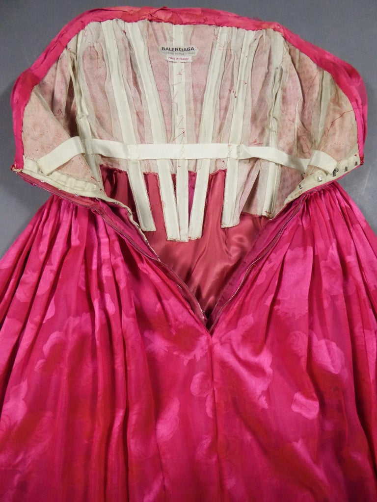 Women's A Cristobal Balenciaga Damask Chiffon Couture Evening Dress Circa 1960 For Sale