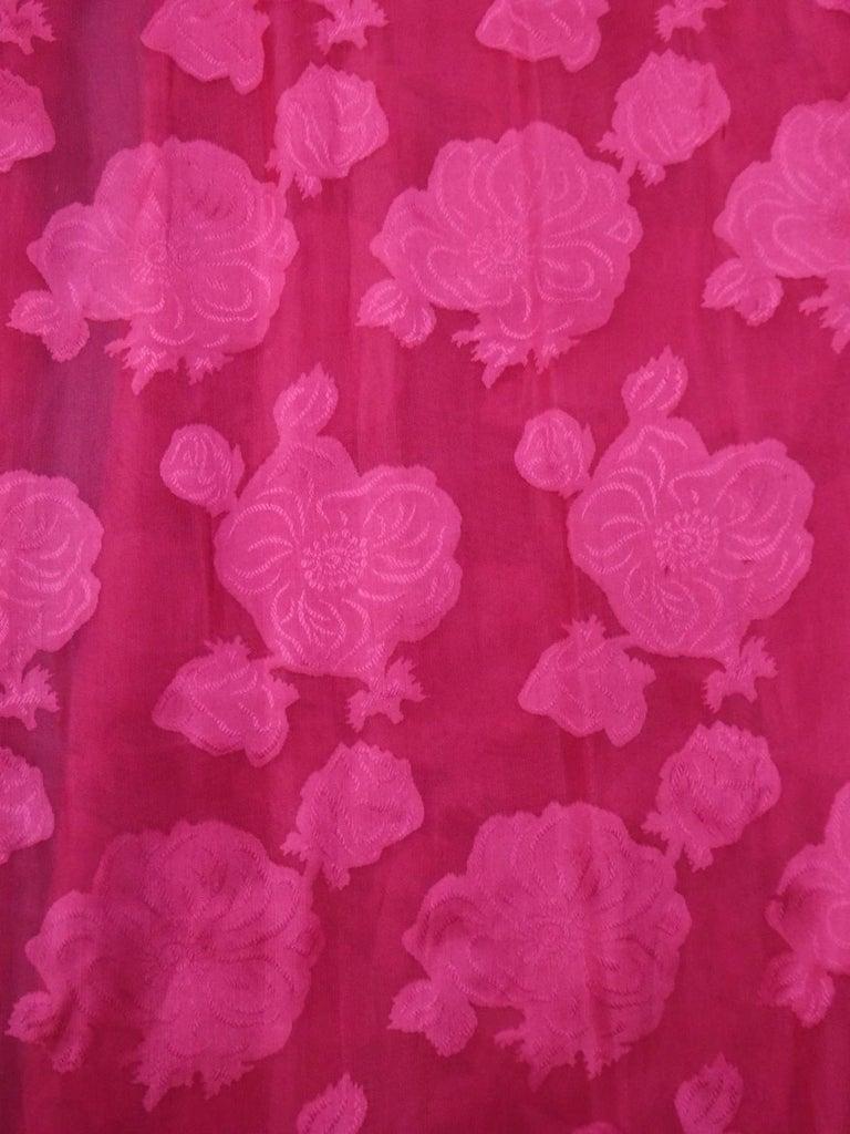 A Cristobal Balenciaga Damask Chiffon Couture Evening Dress Circa 1960 For Sale 1