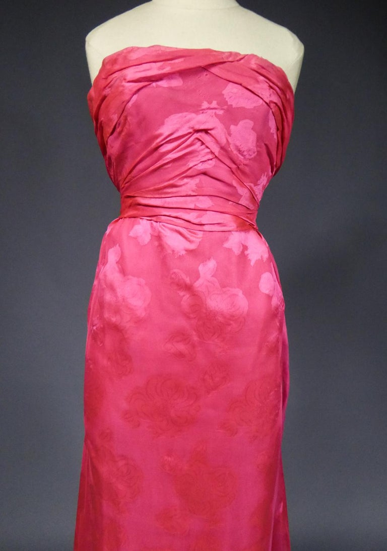 A Cristobal Balenciaga Damask Chiffon Couture Evening Dress Circa 1960 For Sale 3
