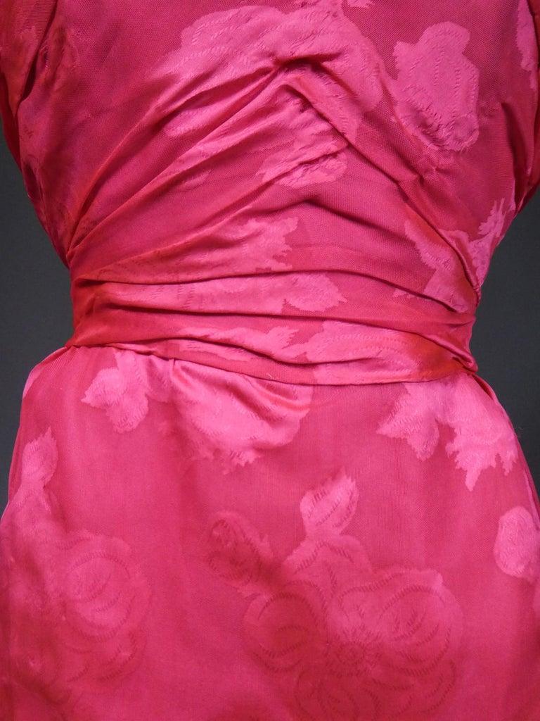 A Cristobal Balenciaga Damask Chiffon Couture Evening Dress Circa 1960 For Sale 4