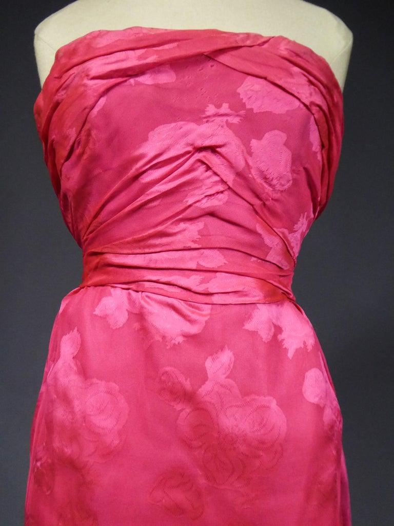 A Cristobal Balenciaga Damask Chiffon Couture Evening Dress Circa 1960 For Sale 5