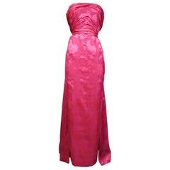 A Cristobal Balenciaga Damask Chiffon Couture Evening Dress Circa 1960